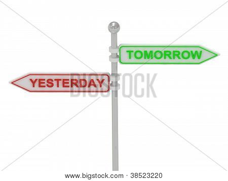 "Signs With Red ""yesterday"" And Green ""tomorrow"""