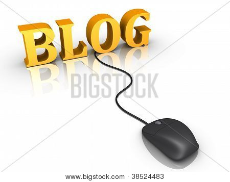 Blog Word And A Mouse Connected To It