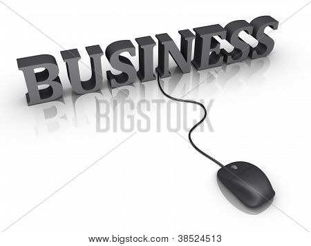 Business Word And A Mouse Connected To It