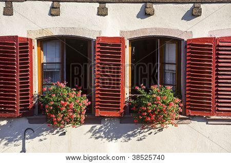 Barr (alsace) Two Windows With Red Shutters