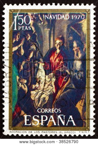 Postage stamp Spain 1970 Adoration of the Shepherds, El Greco