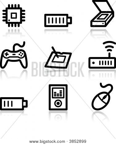 Electronics Black Contour Web Icons