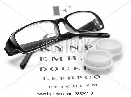 glasses and contact lenses in containers, on snellen eye chart background