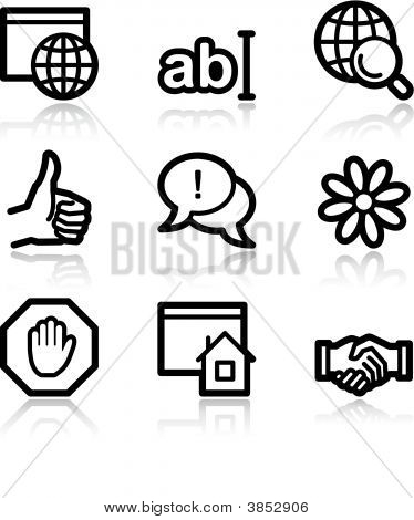 Internet Communication Black Contour Web Icons