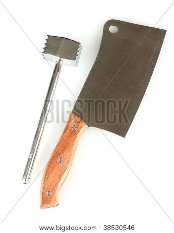 meat hammer with meat hatchet isolated on white background
