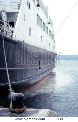Ship Is Tied At The Dardanelles