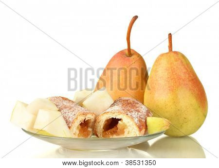 Fresh bagels with pears isolated on white
