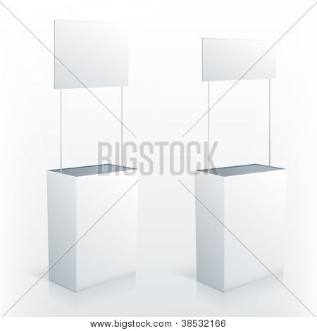 Promotion counter table with square topper. Vector promo stand.