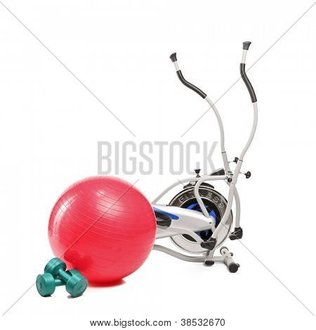 Exercising fitness equipment isolated on white background