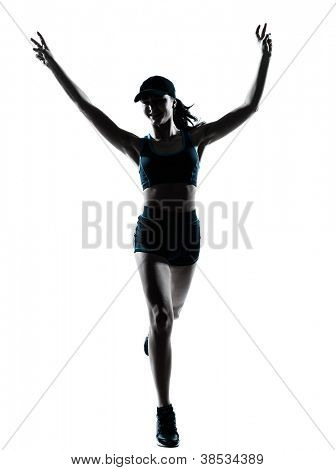 one caucasian woman runner jogger victorious in silhouette studio isolated on white background