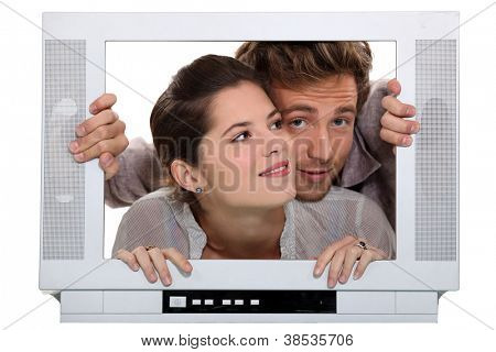 Couple inside a television set