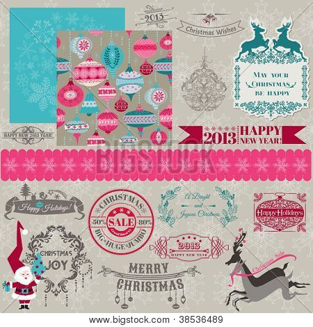 Scrapbook Design Elements - Vintage Merry Christmas and New Year - in vector