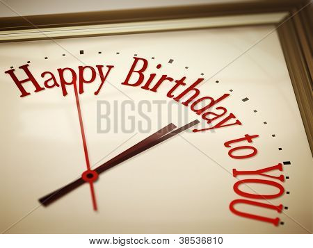 A nice vintage clock with happy birthday to you