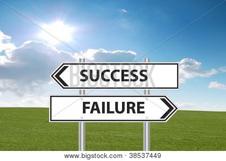 Success or failure sign in front of grass and cloudy blue sky