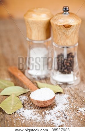 salt and pepper in spoon and shakers, bay leaves on rustic wooden table