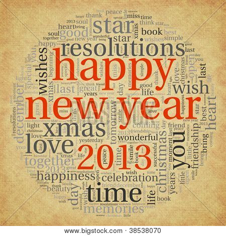 Happy new year 2013 greeting card in tag cloud on old paper