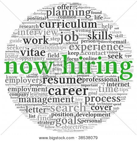 Now hiring and job search concept in word tag cloud on white background