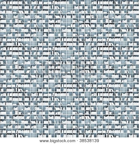 white shelves matrix (illustrated concept)