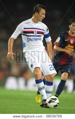 BARCELONA - AUG  20: Daniele Gastaldello of UC Sampdoria in action during Joan Gamper Trophy match between FC Barcelona and UC Sampdoria at Nou Camp Stadium in Barcelona, Spain on August 20, 2012