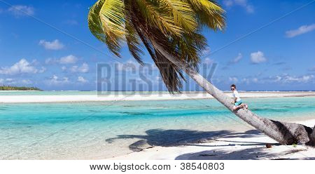 Little boy sitting on palm at exotic beach