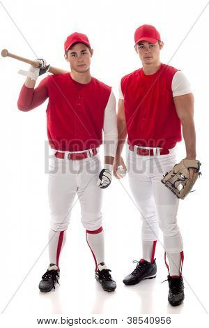 Two baseball teammates. Studio shot over white.