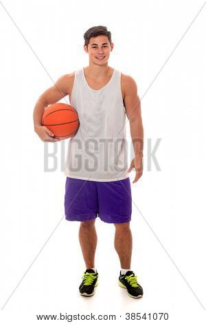 Male basketball player. Studio shot over white.