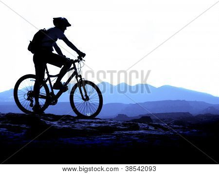 Mountain Biking up a trail in the mountains