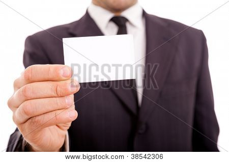 business man in suit showing his business card, close-up