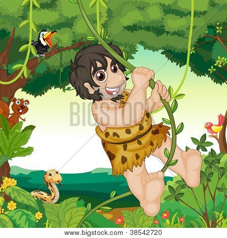 illustration of animals, birds and man in a beautiful nature