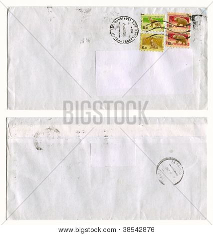 RUSSIA - CIRCA 2012: Mailing envelope with postage stamps dedicated to Rat, Wolf, Bear and the reverse side, circa 2012.