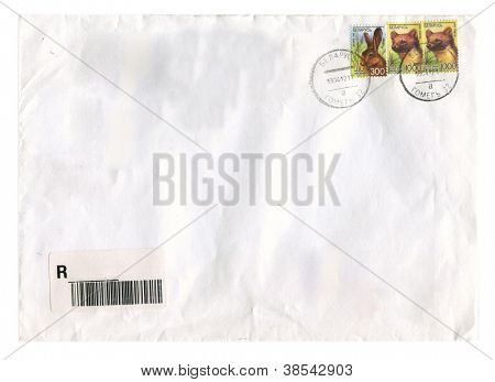 BELARUS - CIRCA 2008: Mailing envelope with postage stamps dedicated to Rat and Marten,circa 2008.
