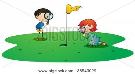 illustration of kids on golf ground on white background