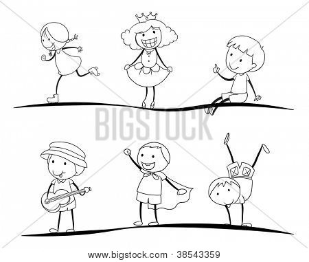 illustration of a scetches of kids on a white background