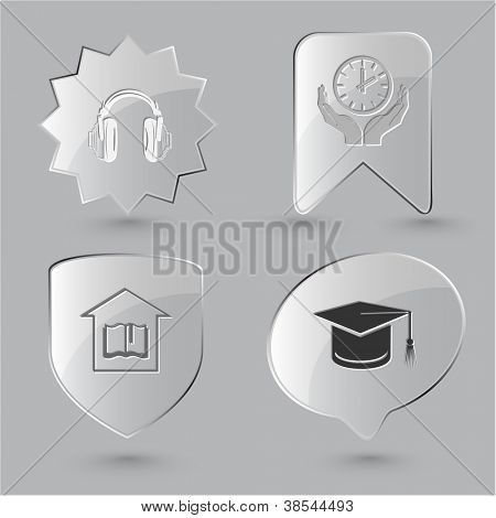 Education icon set. Headphones, clock in hands, graduation cap, library. Glass buttons.