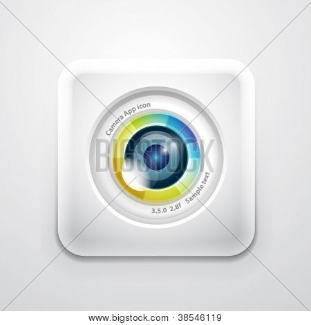 Camera application icon. Colorful camera lens design on white square shape