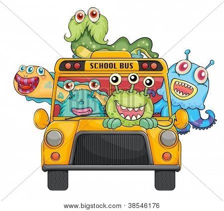 illustration of monsters and school bus on a white background