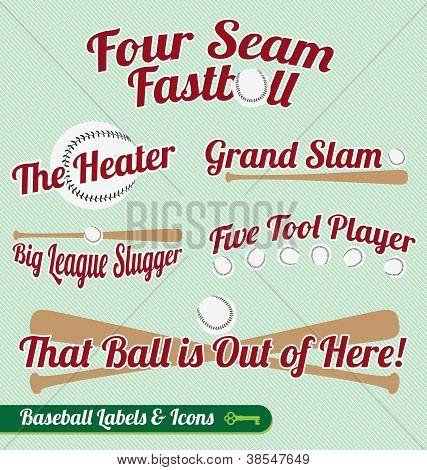Vector Set: Baseball Bat and Ball Labels and Icons