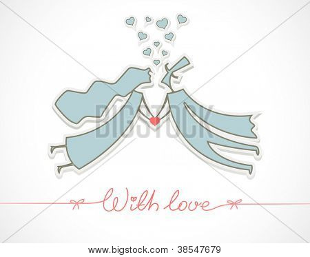 loving man and woman with heart vector illustration EPS10. Transparent objects and opacity masks used for shadows and lights drawing