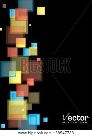 Black background presentation template with rainbow abstract squares