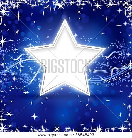 Christmas / winter background with stars, snow flakes and wavy lines on blue background with light dots for your festive occasions.