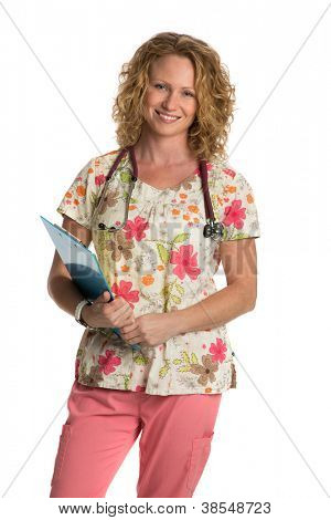Blond Nurse with Natural Looking Smile Wearing Flower Patterned Scrubs Holding Clipboard on Isolated White Background