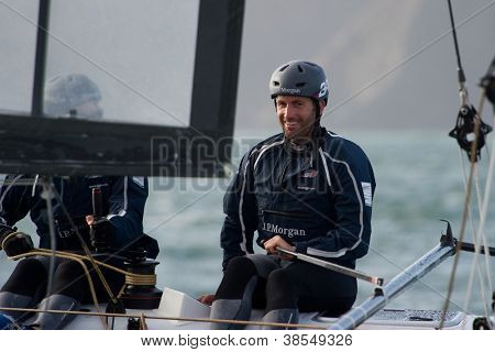 SAN FRANCISCO, CA - OCTOBER 4: Ben Ainslie, skipper of Great Britain's Ben Ainslie Racing Team, competes in the America'??s Cup World Series sailing races in San Francisco, CA on October 4, 2012