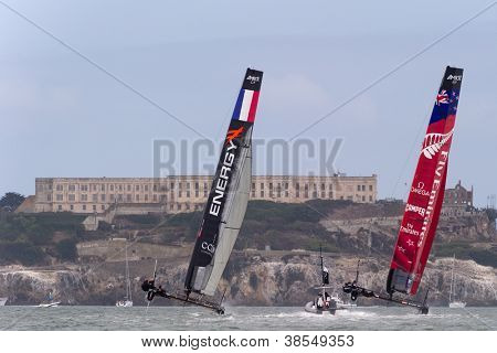 SAN FRANCISCO, CA - OCTOBER 4: The Energy Team and Emirates Team New Zealand compete in the America'??s Cup World Series sailing races in San Francisco, CA on October 4, 2012