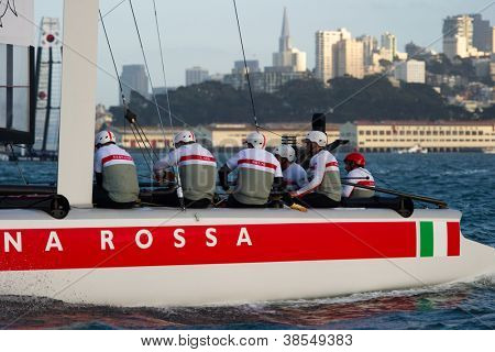 SAN FRANCISCO, CA - OCTOBER 4: Italy'??s Team Luna Rossa Piranha skippered by Chris Draper competes in the America'?s Cup World Series sailing races in San Francisco, CA on October 4, 2012