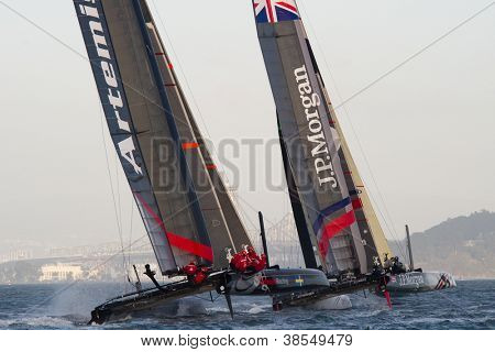 SAN FRANCISCO, CA - OCTOBER 4: Artemis White and Ben Ainslie Racing competes in the America'??s Cup World Series sailing races in San Francisco, CA on October 4, 2012