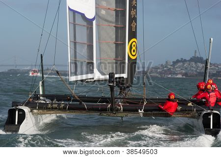 SAN FRANCISCO, CA - OCTOBER 4: Team China's sailboat skippered by Phil Robertson competes in the America'??s Cup World Series sailing races in San Francisco, CA on October 4, 2012