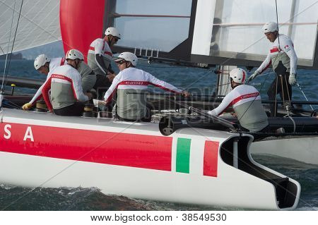 SAN FRANCISCO, CA - OCTOBER 4: Italy'??s Team Luna Rossa competes in the America'??s Cup World Series sailing races in San Francisco, CA on October 4, 2012