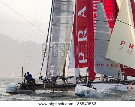 SAN FRANCISCO, CA - OCTOBER 4: Luna Rossa Swordfish and Team China compete in the America's Cup World Series sailing races in San Francisco, CA on October 4, 2012