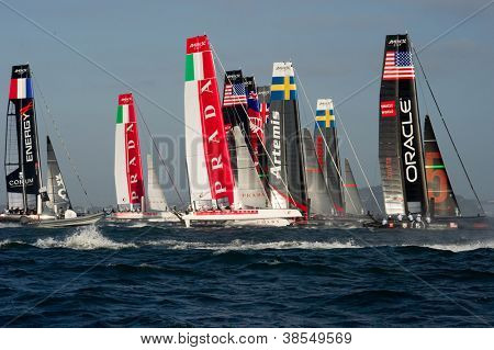 SAN FRANCISCO, CA - OCTOBER 4: The America's Cup World Series sailing fleet races in San Francisco, CA on October 4, 2012