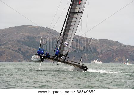 SAN FRANCISCO, CA - OCTOBER 4: The Team Korea sailboat skippered by Peter Burling  competes in the America's Cup World Series sailing races in San Francisco, CA on October 4, 2012